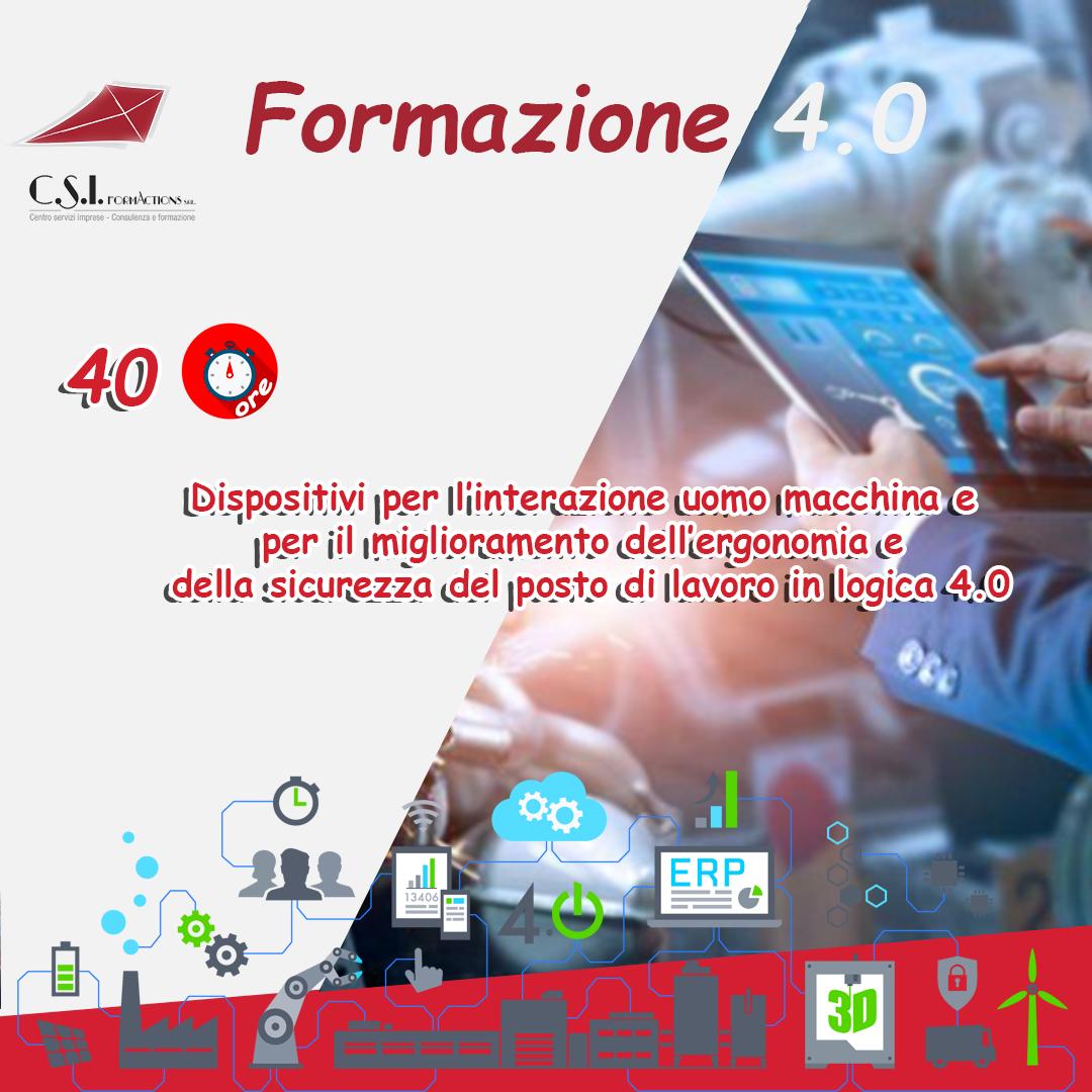 Dispositivi per l'interazione uomo macchina e per il miglioramento dell'ergonomia e della sicurezza del posto di lavoro in logica 4.0